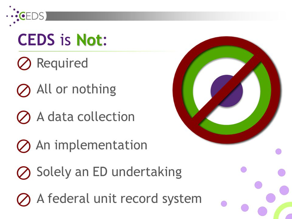 Required A data collection A federal unit record system Solely an ED undertaking All or nothing An implementation CEDS Not is Not: