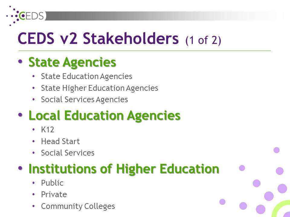 CEDS v2 Stakeholders (1 of 2) State Agencies State Agencies State Education Agencies State Higher Education Agencies Social Services Agencies Local Education Agencies Local Education Agencies K12 Head Start Social Services Institutions of Higher Education Institutions of Higher Education Public Private Community Colleges