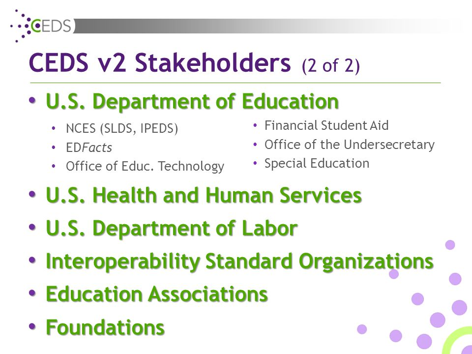 CEDS v2 Stakeholders (2 of 2) U.S. Department of Education U.S.
