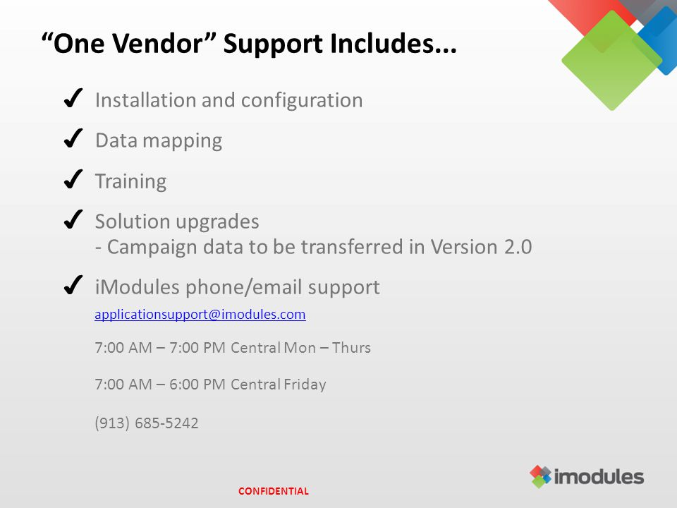 One Vendor Support Includes...