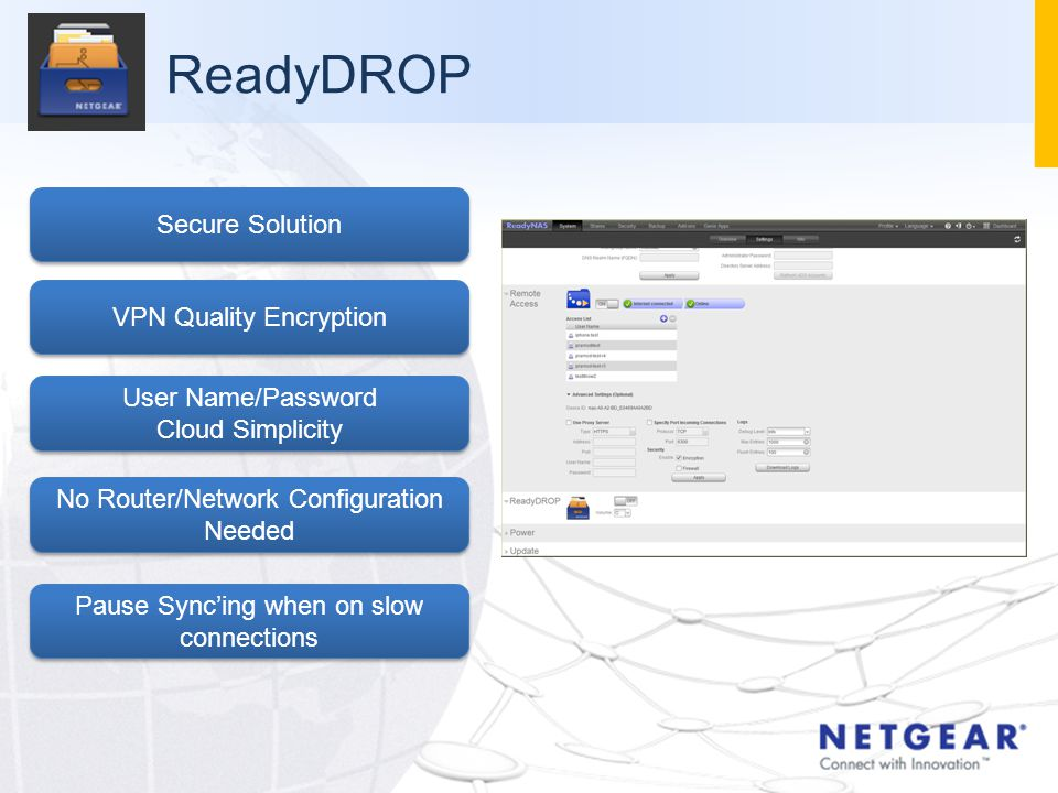 ReadyDROP Secure Solution VPN Quality Encryption User Name/Password Cloud Simplicity User Name/Password Cloud Simplicity No Router/Network Configuration Needed Pause Sync'ing when on slow connections