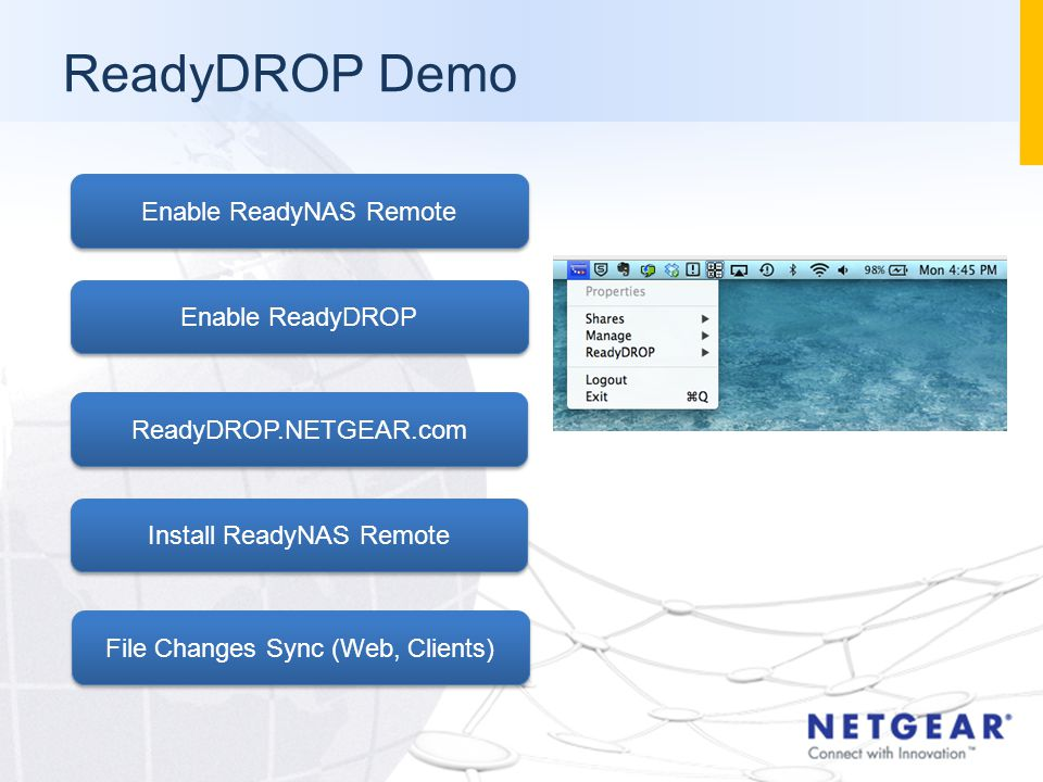 ReadyDROP Demo Enable ReadyNAS Remote Enable ReadyDROP ReadyDROP.NETGEAR.com Install ReadyNAS Remote File Changes Sync (Web, Clients)