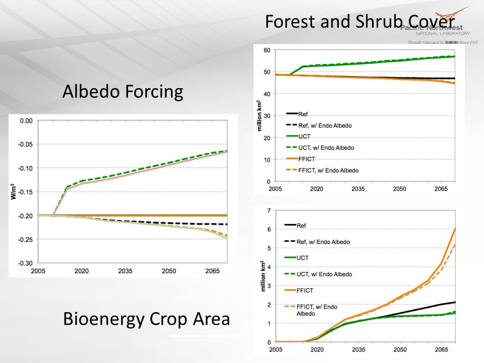 Albedo Forcing Forest and Shrub Cover Bioenergy Crop Area