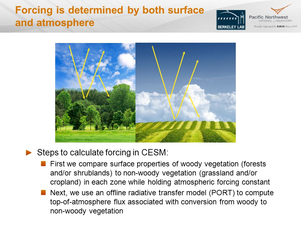Forcing is determined by both surface and atmosphere Steps to calculate forcing in CESM: First we compare surface properties of woody vegetation (forests and/or shrublands) to non-woody vegetation (grassland and/or cropland) in each zone while holding atmospheric forcing constant Next, we use an offline radiative transfer model (PORT) to compute top-of-atmosphere flux associated with conversion from woody to non-woody vegetation