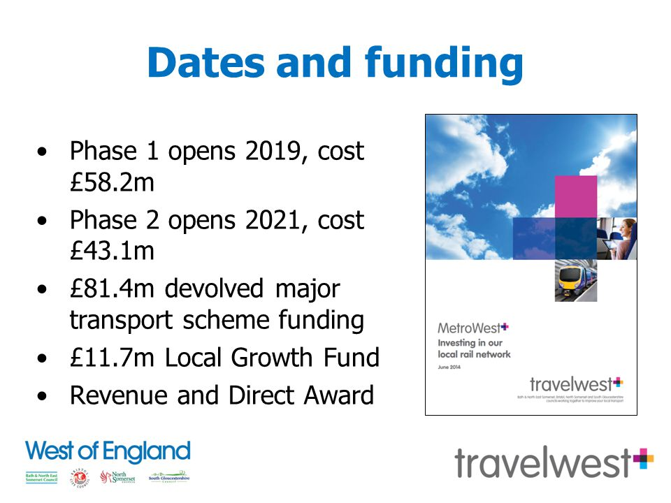 Dates and funding Phase 1 opens 2019, cost £58.2m Phase 2 opens 2021, cost £43.1m £81.4m devolved major transport scheme funding £11.7m Local Growth Fund Revenue and Direct Award