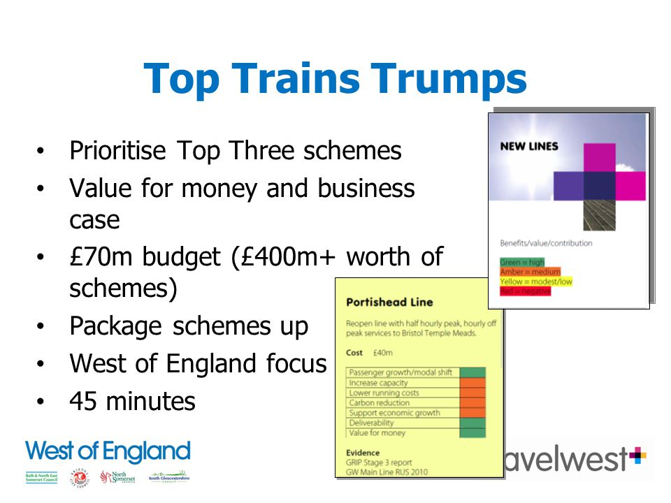 Top Trains Trumps Prioritise Top Three schemes Value for money and business case £70m budget (£400m+ worth of schemes) Package schemes up West of England focus 45 minutes