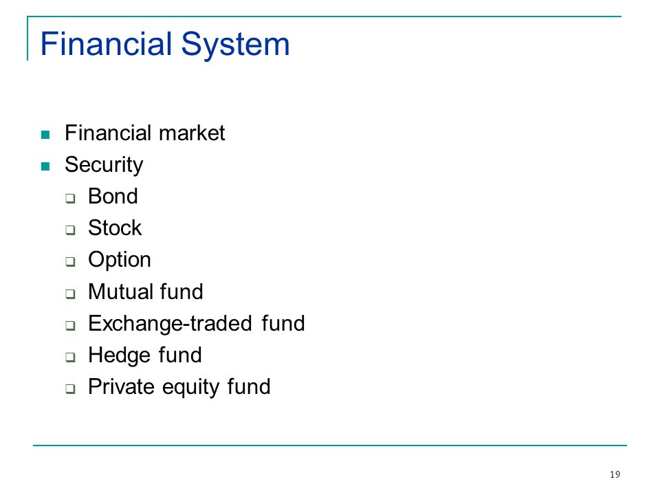 19 Financial System Financial market Security  Bond  Stock  Option  Mutual fund  Exchange-traded fund  Hedge fund  Private equity fund