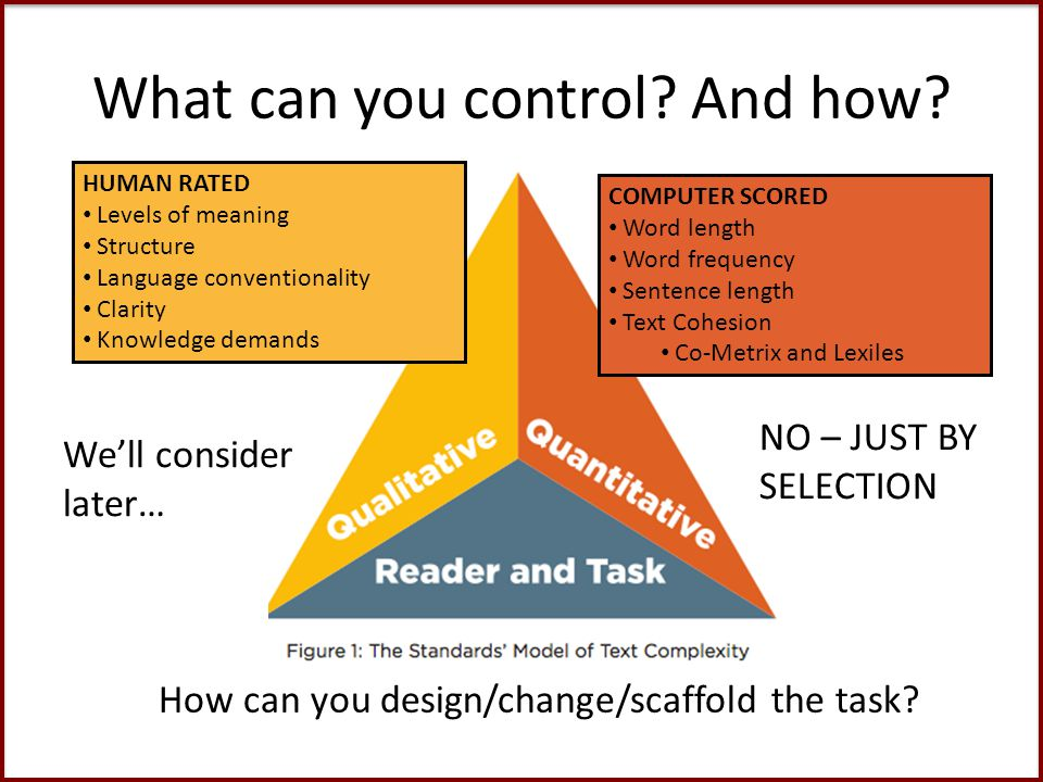 What can you control. And how. NO – JUST BY SELECTION How can you design/change/scaffold the task.