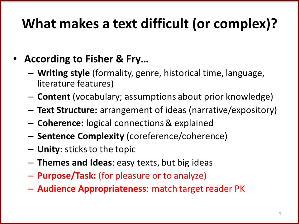 What makes a text difficult (or complex).