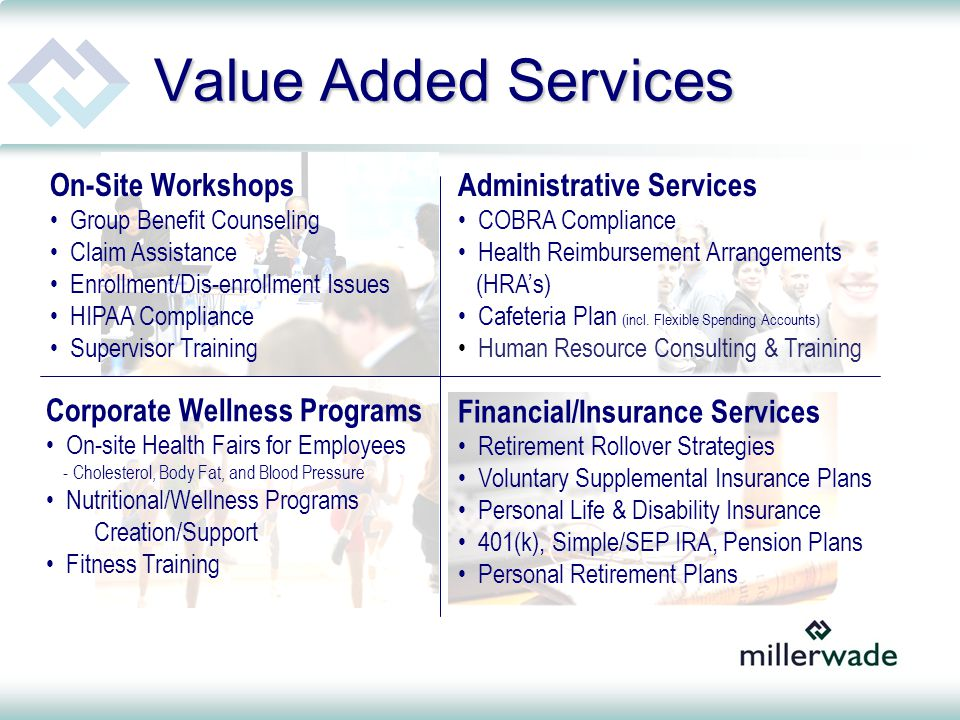 Value Added Services Administrative Services COBRA Compliance Health Reimbursement Arrangements (HRA's) Cafeteria Plan (incl.