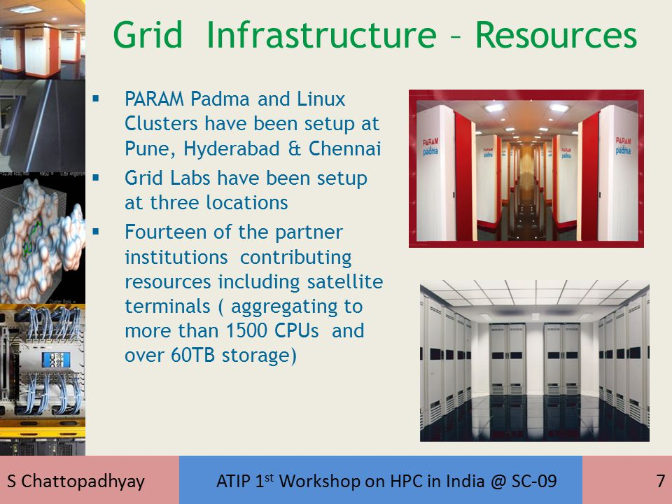 S Chattopadhyay ATIP 1 st Workshop on HPC in India @ SC-097 Grid Infrastructure – Resources  PARAM Padma and Linux Clusters have been setup at Pune, Hyderabad & Chennai  Grid Labs have been setup at three locations  Fourteen of the partner institutions contributing resources including satellite terminals ( aggregating to more than 1500 CPUs and over 60TB storage)
