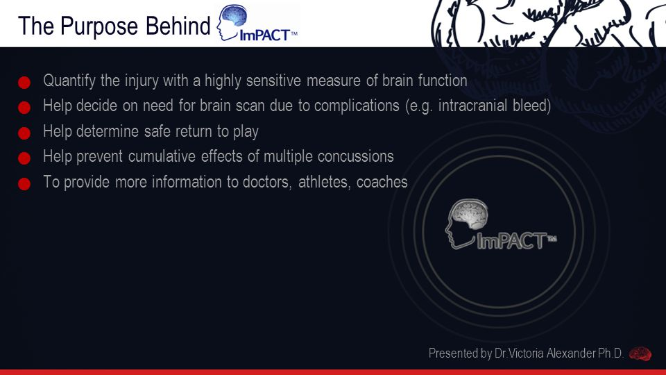 The Purpose Behind ImPACT Quantify the injury with a highly sensitive measure of brain function Help decide on need for brain scan due to complications (e.g.