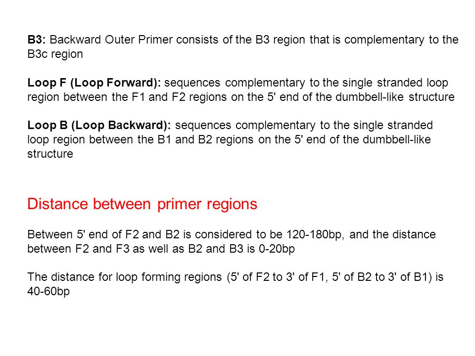 B3: Backward Outer Primer consists of the B3 region that is complementary to the B3c region Loop F (Loop Forward): sequences complementary to the single stranded loop region between the F1 and F2 regions on the 5 end of the dumbbell-like structure Loop B (Loop Backward): sequences complementary to the single stranded loop region between the B1 and B2 regions on the 5 end of the dumbbell-like structure Distance between primer regions Between 5 end of F2 and B2 is considered to be 120-180bp, and the distance between F2 and F3 as well as B2 and B3 is 0-20bp The distance for loop forming regions (5 of F2 to 3 of F1, 5 of B2 to 3 of B1) is 40-60bp