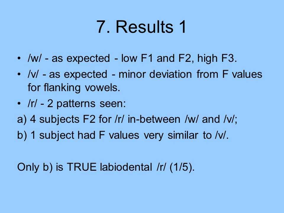 7. Results 1 /w/ - as expected - low F1 and F2, high F3.