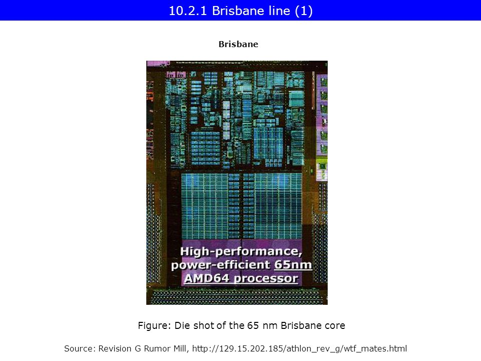 Source: Revision G Rumor Mill,   Figure: Die shot of the 65 nm Brisbane core Brisbane Brisbane line (1)