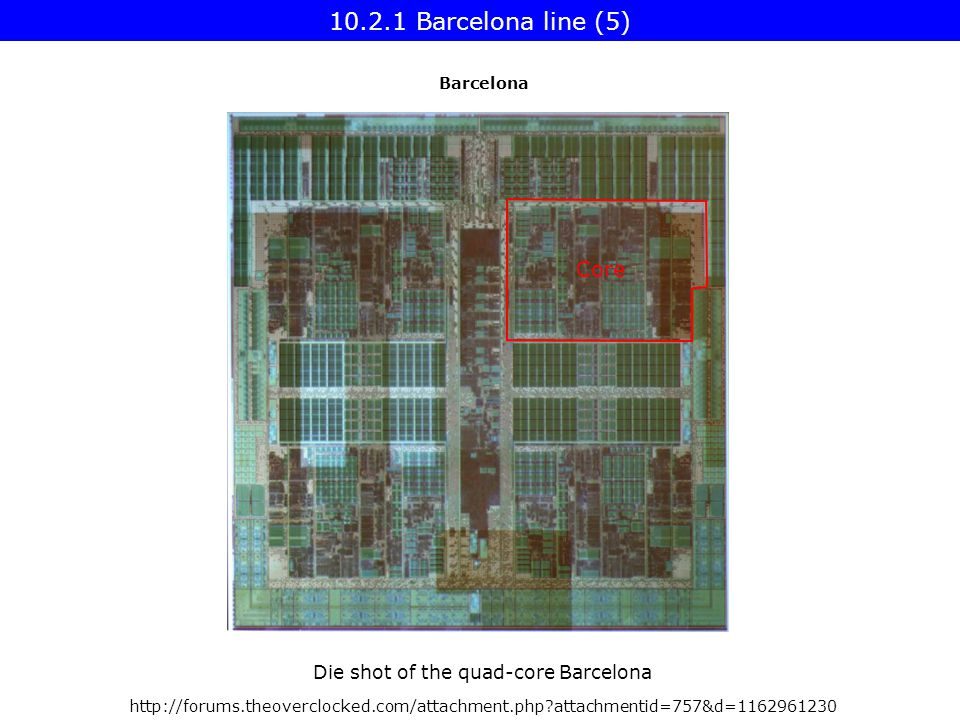 attachmentid=757&d= Core Die shot of the quad-core Barcelona Barcelona line (5) Barcelona