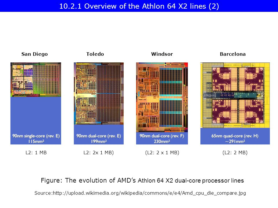 Source:  L2: 2x 1 MB)(L2: 2 x 1 MB)(L2: 2 MB) Figure: The evolution of AMD's Athlon 64 X2 dual-core processor lines L2: 1 MB BarcelonaWindsorToledoSan Diego Overview of the Athlon 64 X2 lines (2)