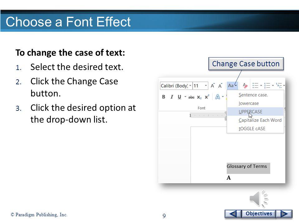 Paradigm Publishing Inc 8 Objectives Change Fonts