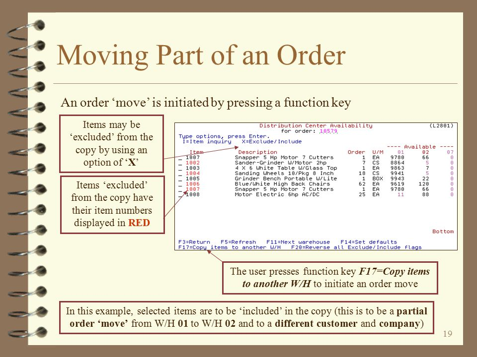 18 Moving Part of an Order 4 Selected lines within an order may be moved to –Another warehouse (same customer) –A different customer (same or different W/H) –A different company (same or different W/H, same or different customer) 4 The user initiates an order 'move' from the Distribution Center Availability screen of the order to be moved by pressing a function key