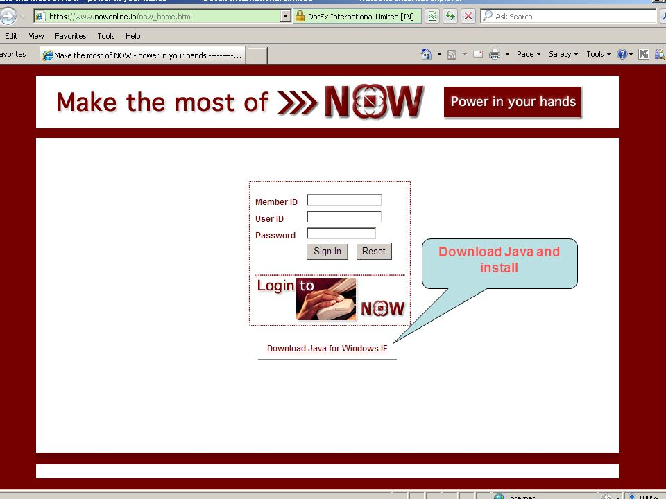 Click on Now online Trade Download Java and install  - ppt