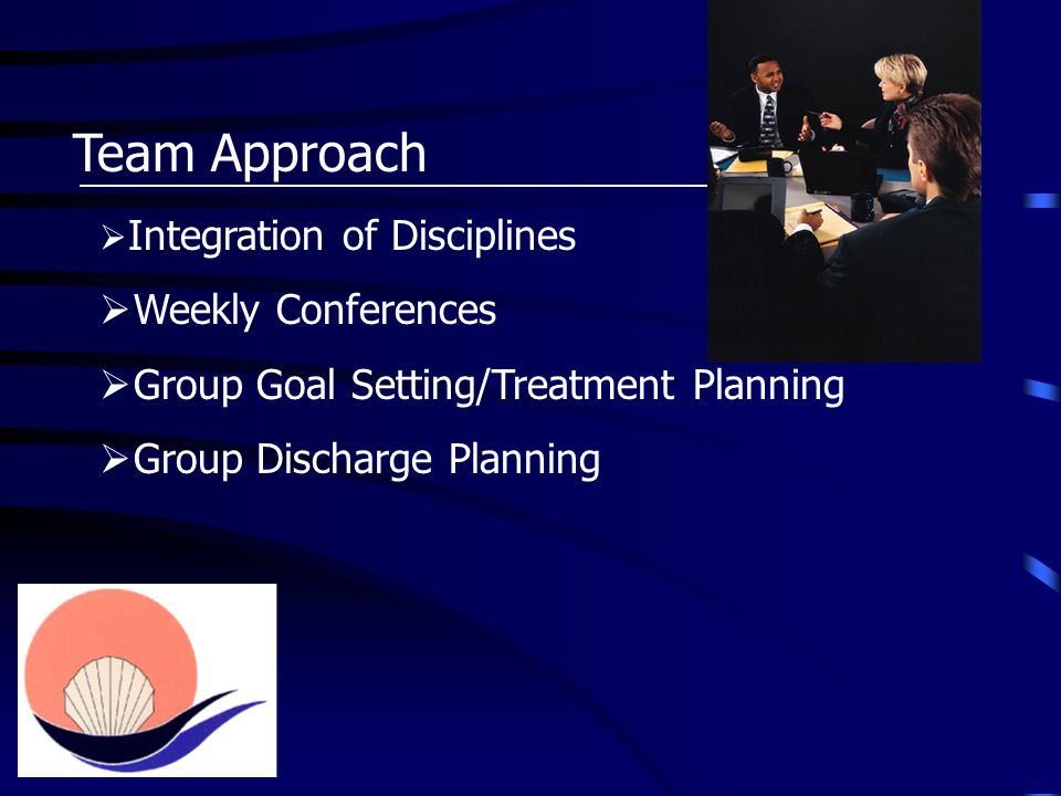 Team Approach  Integration of Disciplines  Weekly Conferences  Group Goal Setting/Treatment Planning  Group Discharge Planning