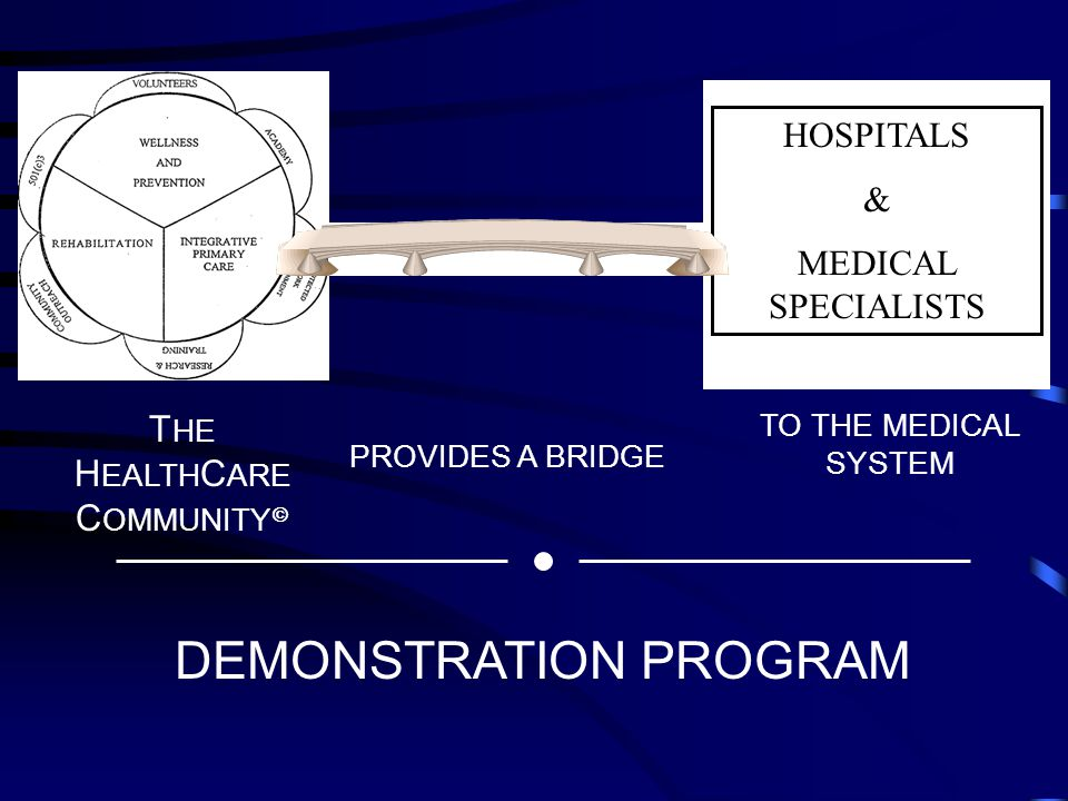 I HOSPITALS & MEDICAL SPECIALISTS T HE H EALTH C ARE C OMMUNITY  PROVIDES A BRIDGE TO THE MEDICAL SYSTEM DEMONSTRATION PROGRAM