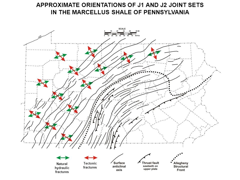APPROXIMATE ORIENTATIONS OF J1 AND J2 JOINT SETS IN THE MARCELLUS SHALE OF PENNSYLVANIA Natural hydraulic fractures Tectonic fractures