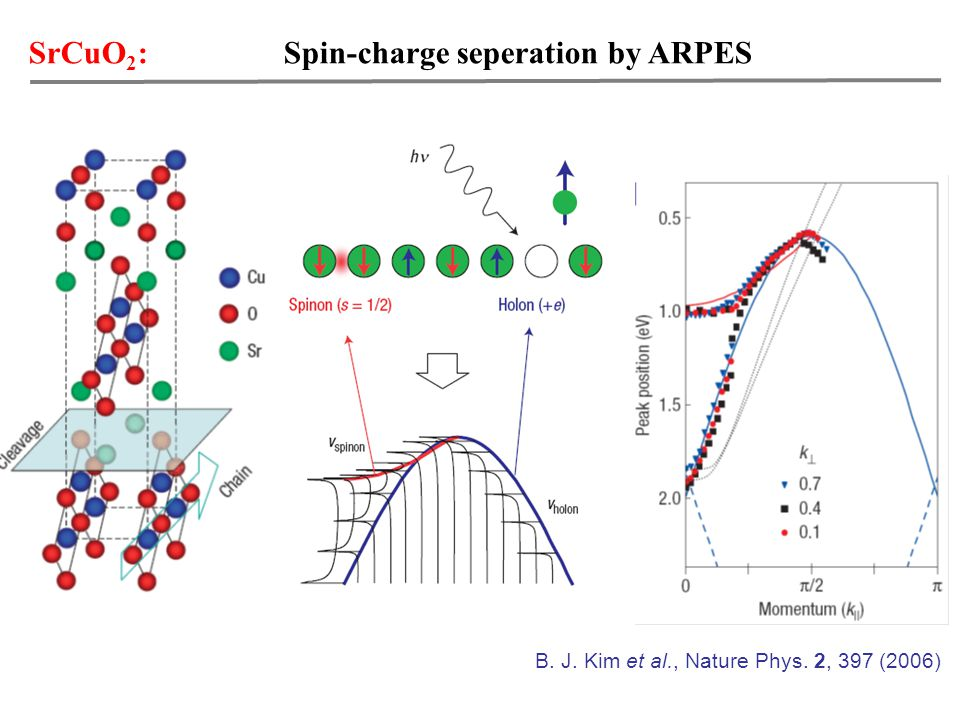 SrCuO 2 : Spin-charge seperation by ARPES B. J. Kim et al., Nature Phys. 2, 397 (2006)