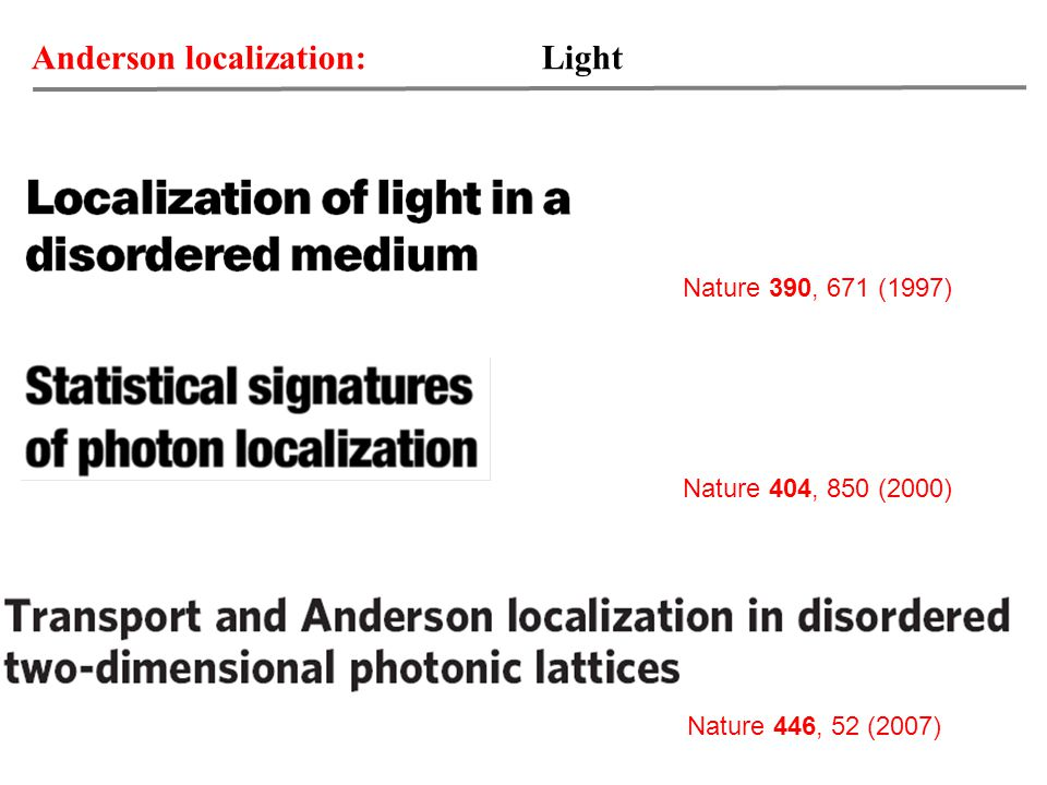 Anderson localization: Light Nature 390, 671 (1997) Nature 404, 850 (2000) Nature 446, 52 (2007)