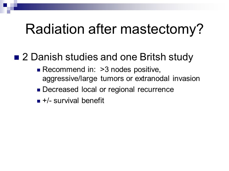Radiation after mastectomy.