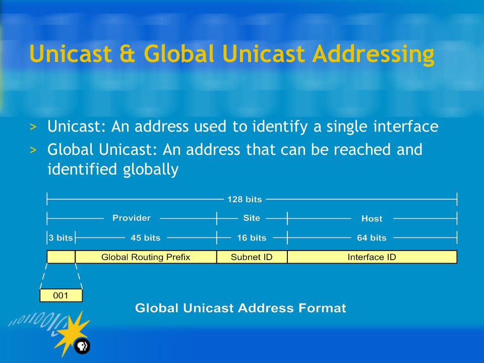 Unicast & Global Unicast Addressing >Unicast: An address used to identify a single interface >Global Unicast: An address that can be reached and identified globally