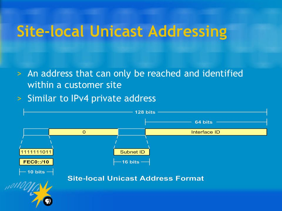 Site-local Unicast Addressing >An address that can only be reached and identified within a customer site >Similar to IPv4 private address