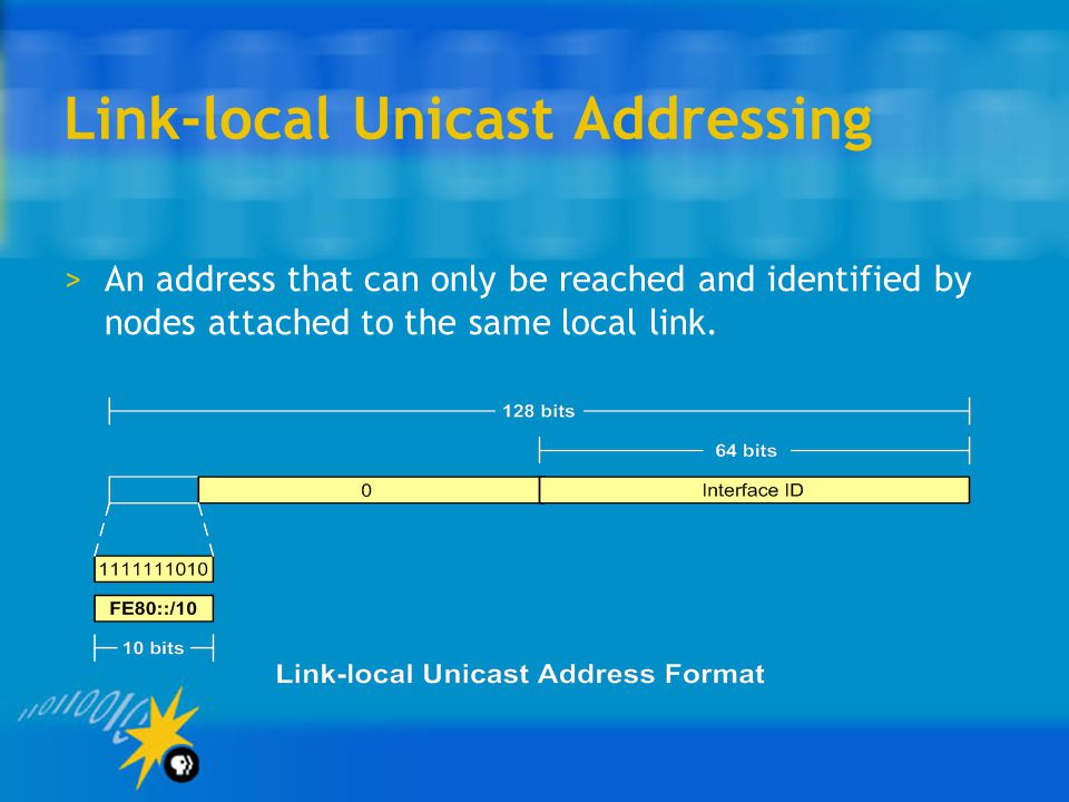 Link-local Unicast Addressing >An address that can only be reached and identified by nodes attached to the same local link.