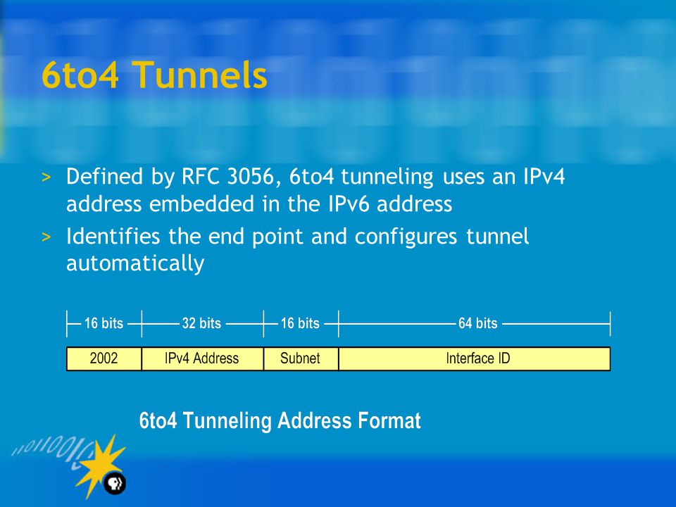 6to4 Tunnels >Defined by RFC 3056, 6to4 tunneling uses an IPv4 address embedded in the IPv6 address >Identifies the end point and configures tunnel automatically