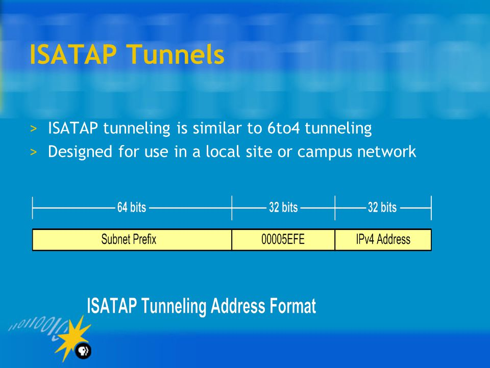 ISATAP Tunnels >ISATAP tunneling is similar to 6to4 tunneling >Designed for use in a local site or campus network