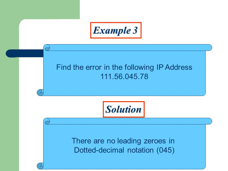 Example 3 Solution Find the error in the following IP Address There are no leading zeroes in Dotted-decimal notation (045)