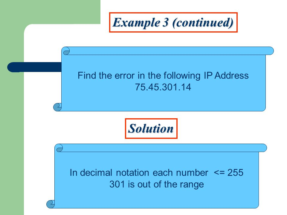 Example 3 (continued) Solution Find the error in the following IP Address In decimal notation each number <= is out of the range