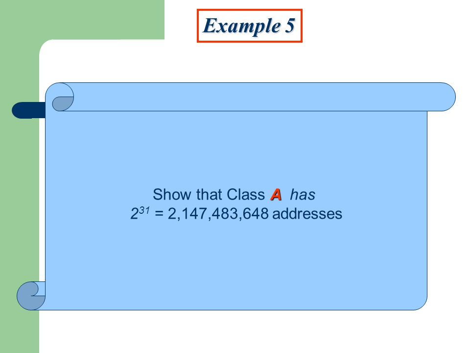 A Show that Class A has 2 31 = 2,147,483,648 addresses Example 5