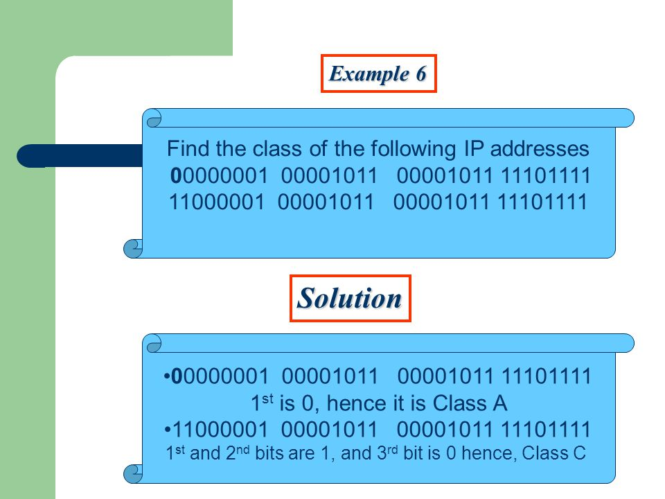 Example 6 Solution Find the class of the following IP addresses st is 0, hence it is Class A st and 2 nd bits are 1, and 3 rd bit is 0 hence, Class C