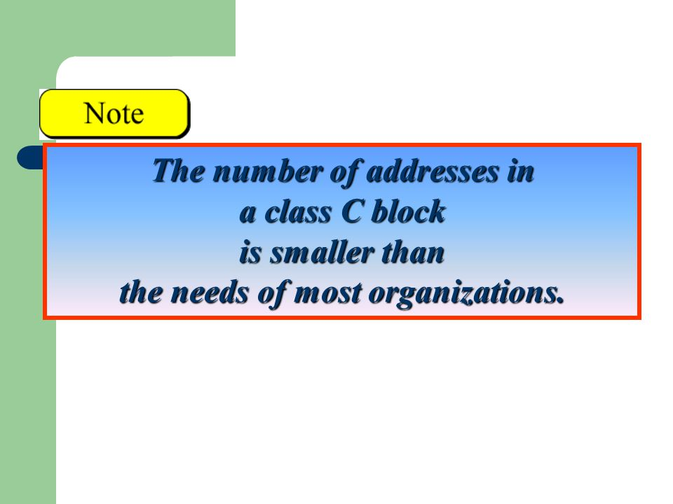 The number of addresses in a class C block is smaller than the needs of most organizations.