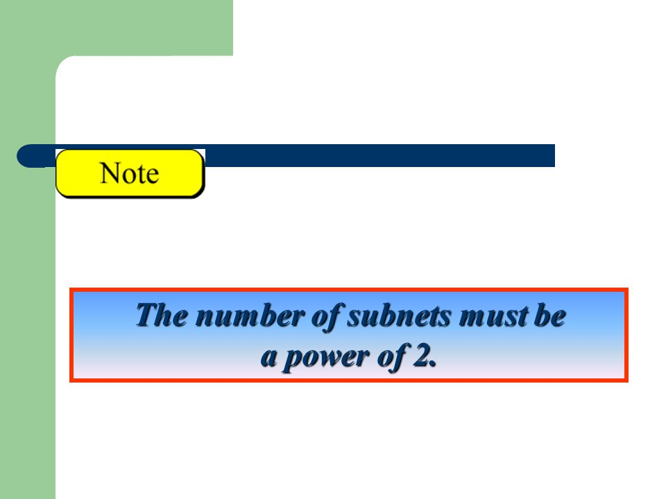 The number of subnets must be a power of 2.