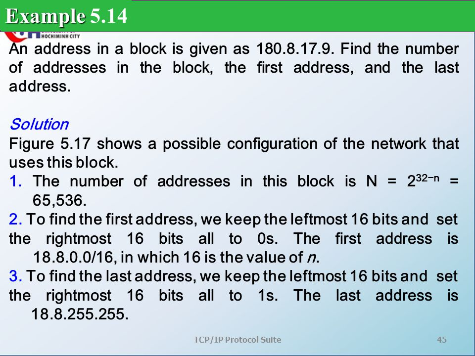 TCP/IP Protocol Suite45 An address in a block is given as 180.8.17.9.