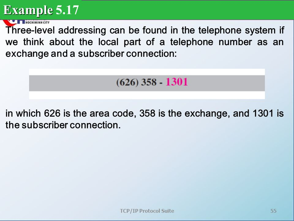 TCP/IP Protocol Suite55 Three-level addressing can be found in the telephone system if we think about the local part of a telephone number as an exchange and a subscriber connection: Example Example 5.17 in which 626 is the area code, 358 is the exchange, and 1301 is the subscriber connection.
