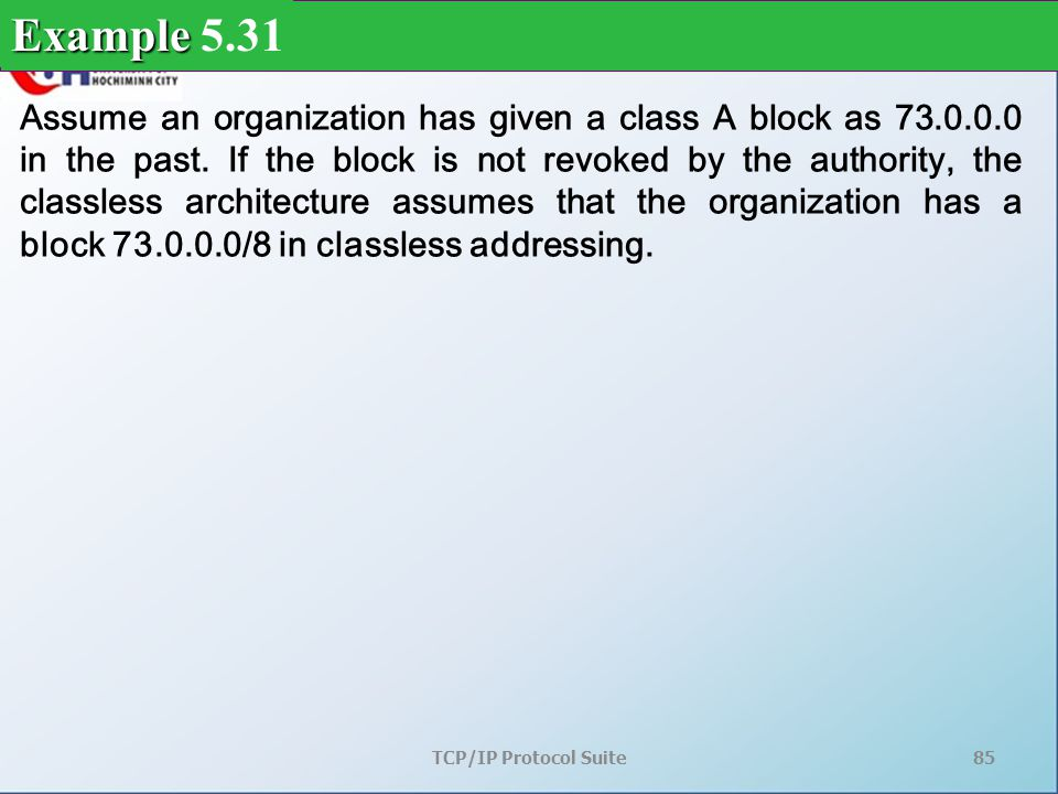 TCP/IP Protocol Suite85 Assume an organization has given a class A block as 73.0.0.0 in the past.