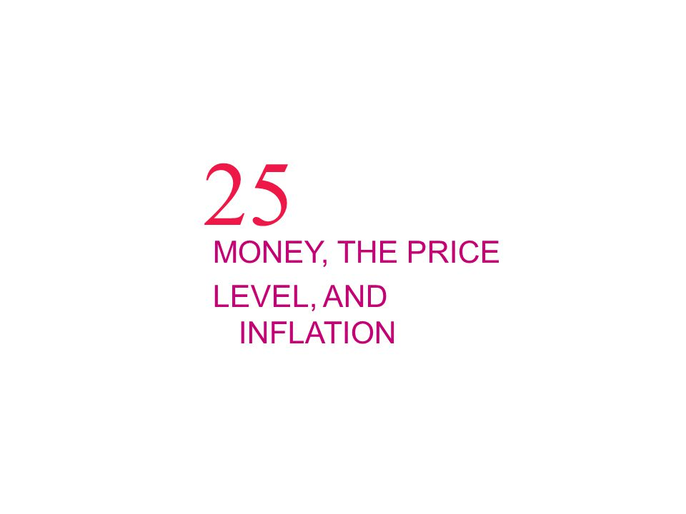 25 MONEY, THE PRICE LEVEL, AND INFLATION