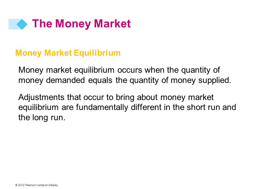 Money Market Equilibrium Money market equilibrium occurs when the quantity of money demanded equals the quantity of money supplied.