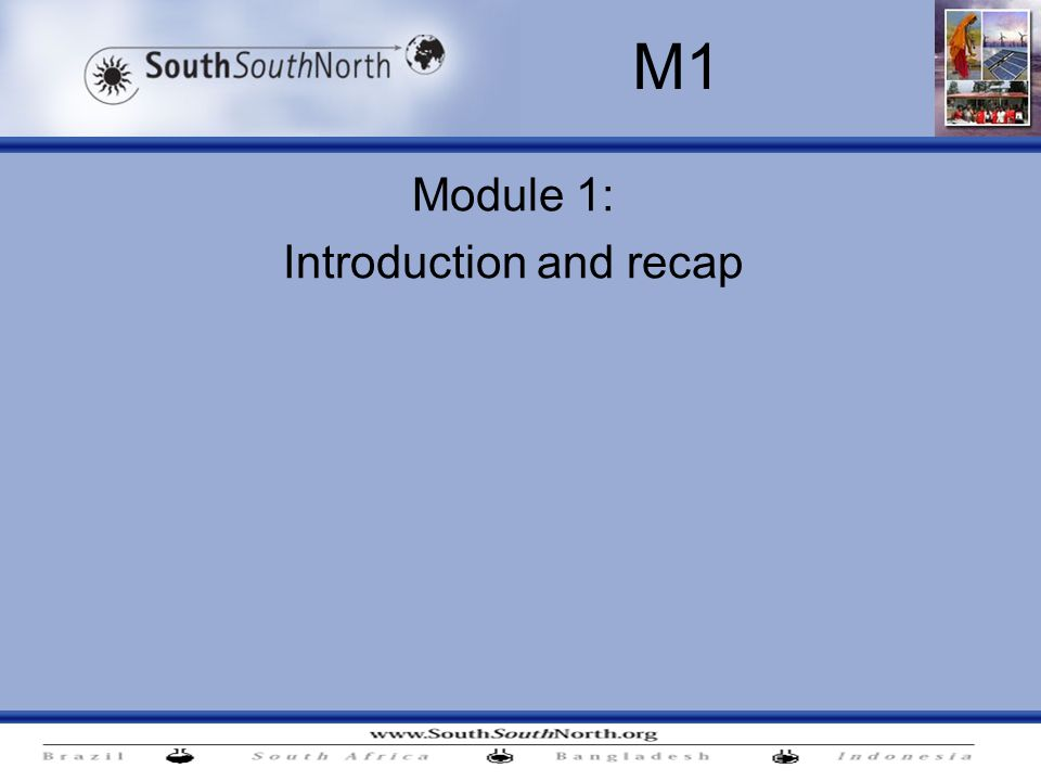 Module 1: Introduction and recap M1