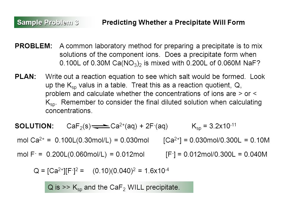 Sample Problem 3 Predicting Whether a Precipitate Will Form PROBLEM:A common laboratory method for preparing a precipitate is to mix solutions of the component ions.