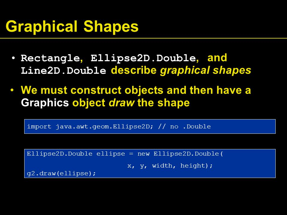 Graphical Shapes Rectangle, Ellipse2D.Double, and Line2D.Double describe graphical shapes We must construct objects and then have a Graphics object draw the shape Ellipse2D.Double ellipse = new Ellipse2D.Double( x, y, width, height); g2.draw(ellipse); import java.awt.geom.Ellipse2D; // no.Double
