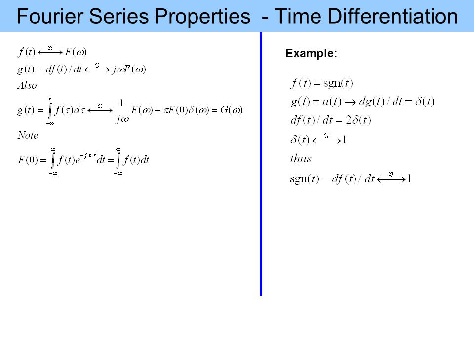 Fourier Series Properties - Time Differentiation Example: